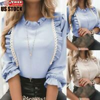 Women's Round Neck Lace Frill Ruffle Blouse Ladies Long Sleeve Shirt Casual Tops