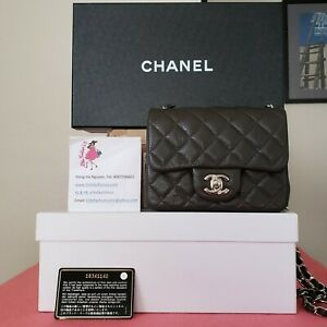 Chanel Mini Square Dark Brown caviar Bag