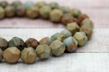 Snake Skin Jasper Round Faceted Diamond Cut Natural Gemstone Loose Beads (8mm)