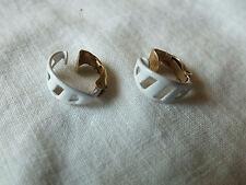 """Beautiful Clip Earrings Gold Tone White Enamel Hoop Signed LEWIS SEGAL 1/2"""" NICE"""