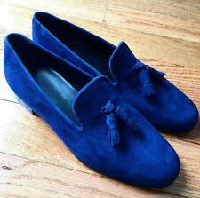 Handmade Men's Genuine Blue Velvet Moccasins Loafers & Slip On Tassels Shoes