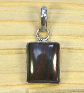 Tiger Iron Gemstone Pendant Taken IN 925 Sterling Silver Stamped Square