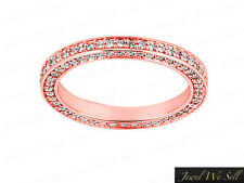 0.70Ct Round Cut Diamond Eternity Band Ring w/ Accents 14k Rose Gold F VS2 Prong