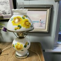 GONE WITH THE WIND WHITE MILK GLASS TABLE LAMP WITH YELLOW ROSES