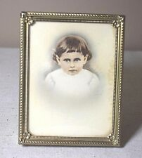 Antique Hand Colored Tinted Child's Portrait Picture Small Silver Plated Frame