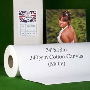 "24"" x 18m 340gsm Inkjet COTTON Canvas Roll (Matte) Water Resistant 100% Cotton"