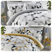 Fusion HENDRA Geometric Stripe Duvet Cover Bedding Set Ochre Grey Reversible