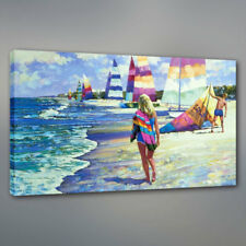 Canvas Wall Art Print Beach and Sea Landscapes with People for Home Decor 12x18