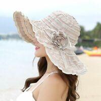 Women Hat Flower Packable Large Wide Brim AntiUV Adjustable Floppy Beach Sun Cap