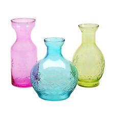 Art & Artifact 3 Piece Glass Vase Set - Small Pink, Blue & Green Pastel Vases