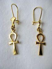 """Egyptian Ankh Lotus Flower 18K Yellow Gold Earrings 1.5""""   #10"""