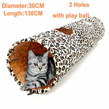 2 Holes Leopard Print Pet Cat Kitten Tunnel Large Foldable Crinkly Funny Toys