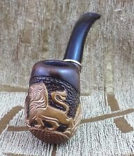 Carved wooden Tobacco smoking pipe Lion on the Earth Very nice wood art