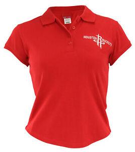 Reebok NBA Junior Women's Houston Rockets Cotton Polo Shirt, Red