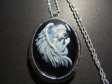 PRAYING GUARDIAN ANGEL CAMEO LOCKET HAND PAINTED