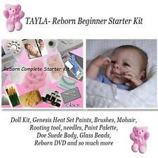 TAYLA Complete  REBORN Starter Beginner Kit, Genesis paints, Mohair, Doe Suede