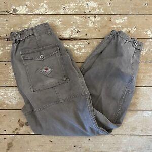 """Vtg Pepe Jeans 90's Cargo Combat Trousers 32"""" Khaki Canvas"""