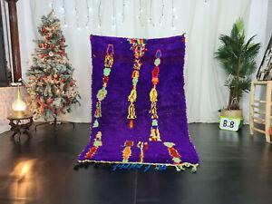 "Vintage Moroccan Handmade Tribal Rug 4'2""x6'8"" Abstract Purple Berber Cotton Rug"