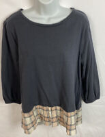 LOFT Women's Top Size Large Scoop Neck Shirt Cotton Blouse Long Sleeve EUC
