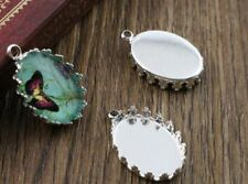 4 x Silver plated  cabochon blank pendant  setting fits 18 x 13 mm)
