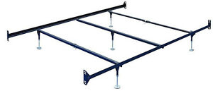 Queen Size Bolt-On Bed Frame Rails with Five adjustable glides and cross arms