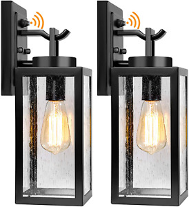 2 Packs Dusk to Dawn Outdoor Wall Lantern with Sensor, Exterior Porch Light Wall