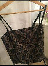 Christmas Party 'Claudia Stevens' Corset Style Damask Pattern Black & Beige Top