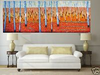 Aboriginal art painting bush tree landscape Australia red Abstract forest woods