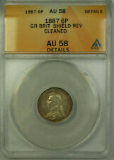 1887 Great Britain Silver 6 Pence Coin Shield Reverse ANACS AU 58 Cleaned Detail