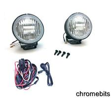 PAIR OF 12  ROUND CLEAR FOG LIGHTS LAMPS LIGHT LAMP 4X4 10cm E4 + WIRING KIT