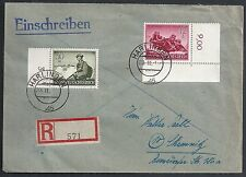 German Reich covers 1945 Deutsche Dienstpost R-cover Harlingen to Chemnitz