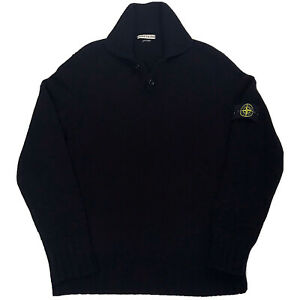 STONE ISLAND Mens Genuine Black Wool Blend Pullover Jumper Made Italy Size Large