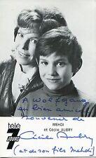 Autographe Dédicace ORIGINAL de l'Actrice CECILE AUBRY & MEHDI sur Carte Télé7