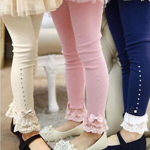 Girls Rhinestone Leggings Spring Fall Children Lace Trim Ruffle Princess Kids