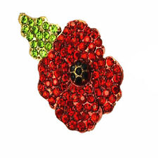 Poppy Flower Gold and Red Diamante Shiny Rhinestones Symbolic Brooch Pin BR227