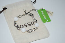 NWT $ 157 Fossil Brand White Ceramic Balls and 925 Sterling Silver Bracelet