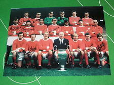 Manchester United 1968 Team Photo Signed x 8 Stiles Foulkes Crerand Dunne etc