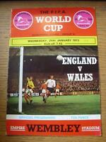 24/01/1973 England v Wales [At Wembley] (team changes, score noted on front cove