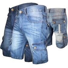 Mens Shorts Denim Jean Short Summer Raw Combat Casual Cargo Pockets W32-40