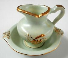 """Vintage Miniature Pitcher and Bowl Set Cream with Gold Design 1957 AJP 3"""""""