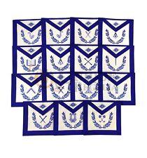 Masonic Blue Lodge 15 Pcs Machine Embroided Officers Apron Set MS023