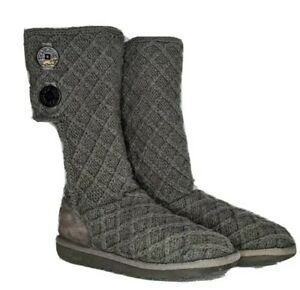 Women's UGG Australia 'Cardy' Tall Gray Sweater Knit Button Boots Size 5