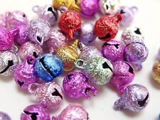 100 Mixed Colors Stardust JINGLE BELLS~Beads Charms 6mm Decoration DIY Craft