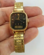 Vintage SEIKO Women's Analog Digital LCD Watch, Gold Plated. New Battery, Works