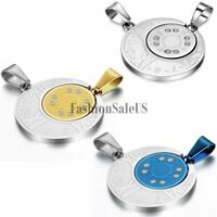 1 Pair His and Hers Stainless Steel Roman Numeral Compass Pendant Necklace Chain