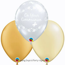 15 Clear Holy Communion Gold Ivory Helium/Air Balloons Party Decoration Boy Girl
