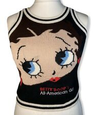 Vintage Betty Boop Knitted Cropped Tank Top Size 10 All American Girl Jumper