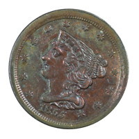 1855 Braided Hair Half Cent Extra Fine Condition