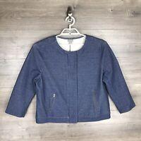 J. Jill Women's Size XL Full Zip Up Chambray Jacket Blue Zipper Pockets Stretch