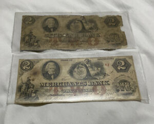Two Old Notes $2 Citizens Bank Of Delaware, $2 Merchants Bank Of Connecticut